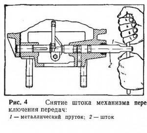 Снятие штока механизма переключения передач