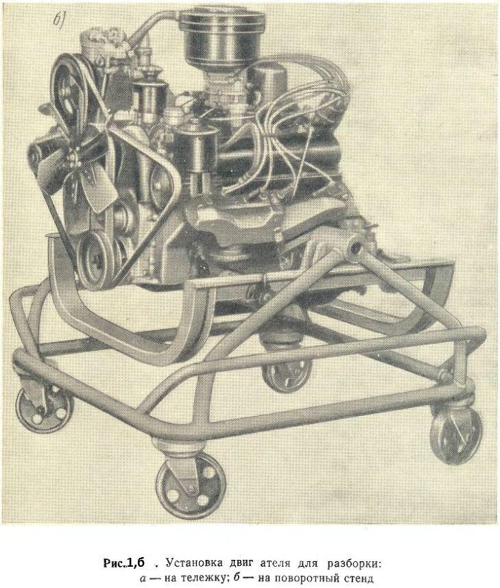 Установка двигателя для разборки на поворотный стенд