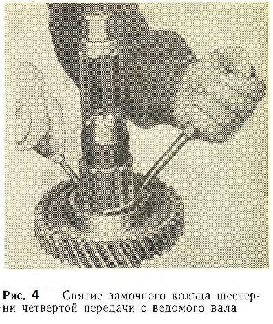 Снятие замочного кольца шестерни четвертой передачи с ведомого вала
