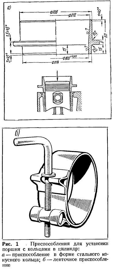 Приспособление для установки поршня с кольцами в цилиндр