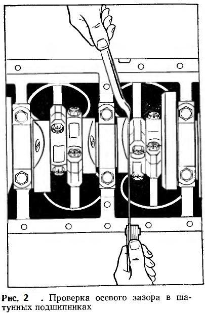 Проверка осевого зазора в шатунных подшипниках
