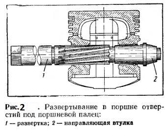 Развертывание в поршне отверстий под поршневой палец