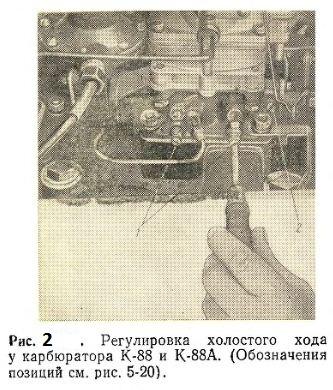 Регулировка холостого хода у карбюратора К-88 и К-88А