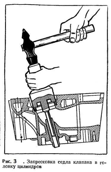 Запрессовка седла клапана в головку цилиндров