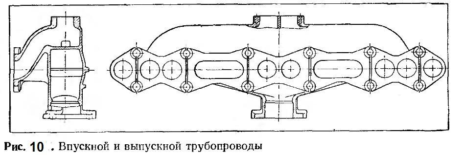 Впускной и выпускной трубопроводы